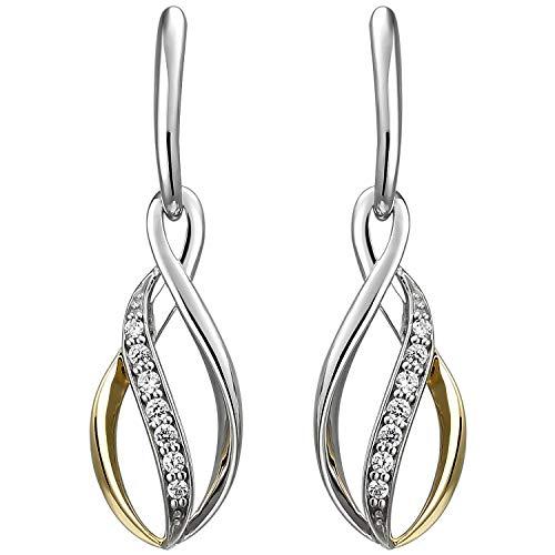 JOBO Damen Ohrhänger 925 Sterling Silber bicolor vergoldet 14 Zirkonia Ohrringe
