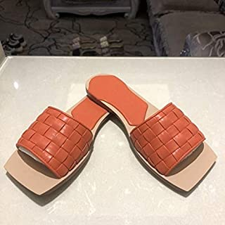 Woven Mesh Square Toe Leather Flat Sandal Slippers Female Outdoor Casual Slip on Slides Summer Shiny outdoor slippers (Color : Orange, Shoe Size : 38)