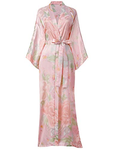 Coucoland Damen Morgenmantel Päonie Blumen Muster Maxi Lang Satin Sommer Kimono Kleid Klassisch Kimono Bademantel Damen Lange Robe Blumen Schlafmantel Girl Pajama Party (Pink)