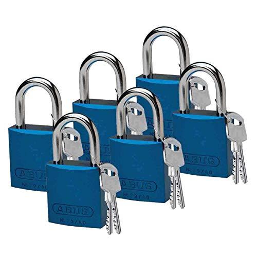 Brady Lockout/tagout in alluminio lucchetto chiave, diversi, 1–3/5'lunghezza del corpo, 1gambo Clearance, Blue, 6