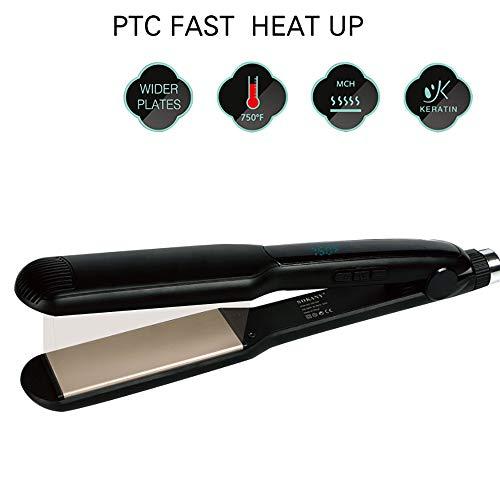 Plancha alisadora de cabello 2 en 1 de cerámica profesional y rizador de pelo rizador de cabello varita húmeda seco plancha plana peinado con doble tensión