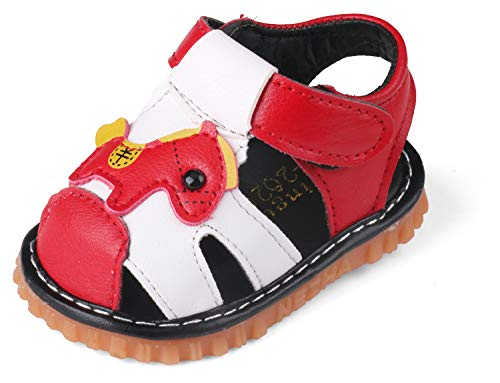 QIETION Toddler Boys Girls Squeaky Sandals Pony Soft Microfiber PU Closed Toe Summer Shoes X311 Red CN15