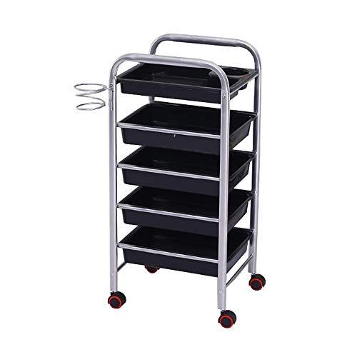 Estantes de cocina, Almacenamiento Rack Sirviendo Carro Médico Carro Herramienta 5 niveles Carro de salón de belleza con cajones, soporte de metal, Tatuaje de SPA Trolley Rolling, Carro de la Utilidad