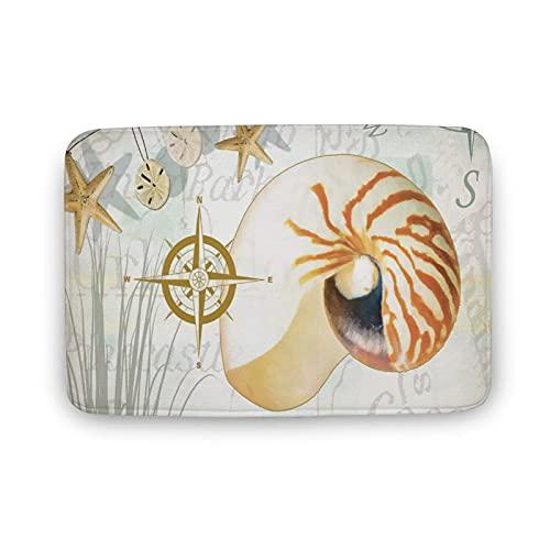 DKISEE Soft Non-Slip Door Mat Beach Seaside Sea Shell Starfish Bath Mat Coral Fleece Area Rug Floor Mat Indoor Outdoor Mat 16 X 24 Inch