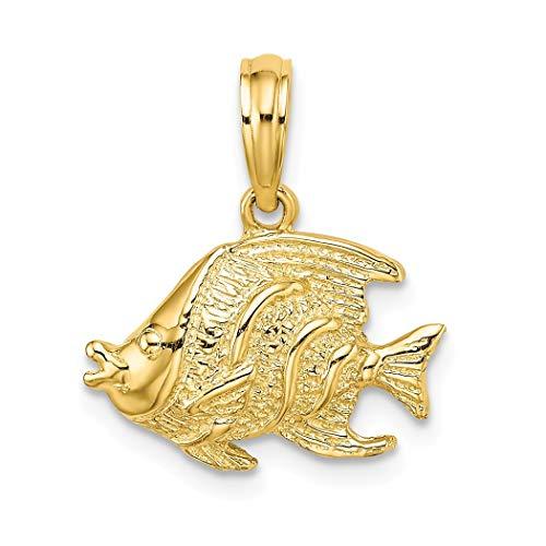 Abalorio con forma de pez de oro de 14 quilates, muy pulido y con textura