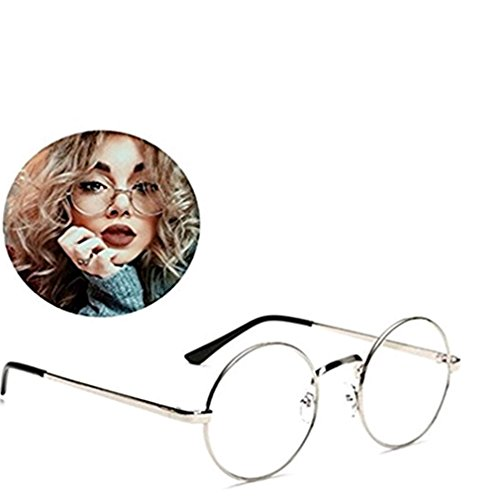 VWH Unisex Glasses Frame Round Retro Metal Multicolor Clear Lens Glasses (silver)