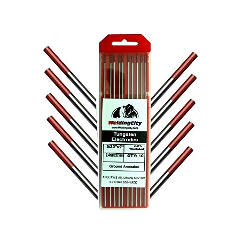 "WeldingCity 10-pk Premium TIG Welding Tungsten Electrode Rod 2.0% Thoriated (Red, EWTh20) 3/32"" x 7"" 