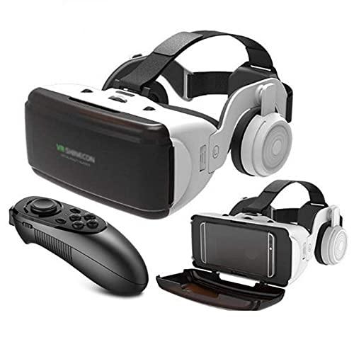 Occhiali 3D VR, Realtà virtuale 3D VR, Occhiali 3D VR con controller Bluetooth e cuffie, HD Virtual Reality per film e giochi 3D, per Smartphone Android e iPhone, adatti smartphone da 4,5-6,5 pollici