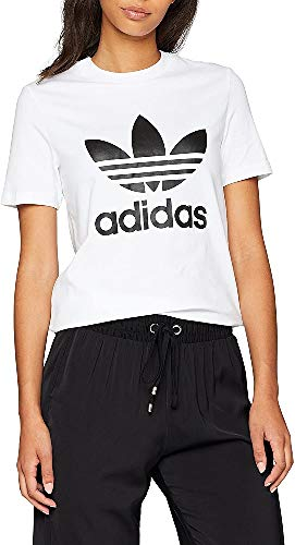 adidas Trefoil T-Shirt, Donna, Bianco/Nero, 38