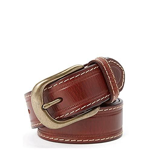 MIKUAP Cinturón De Hombre Con Hebilla De Cobre Para Hombre, Hebilla De Pasador, Cinturón De Hilo Grueso Marrón 3.5X115Cm