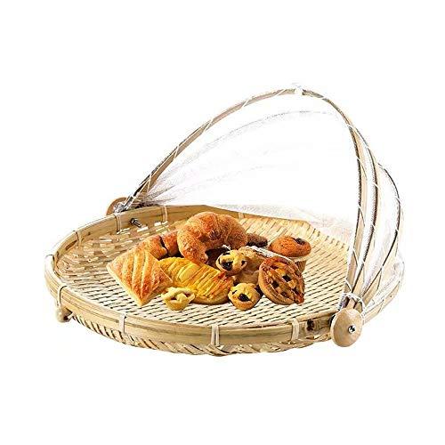 Handgewebter Lebensmittel-Servierkorb Staubdichter runder Picknickkorb Staubdichter Obst-Gemüse-Brotkorb Tablett Insektensicher, Lebensmittelzeltkorb mit Netzgewebe-Abdeckung für Gemüse-Obstbrot