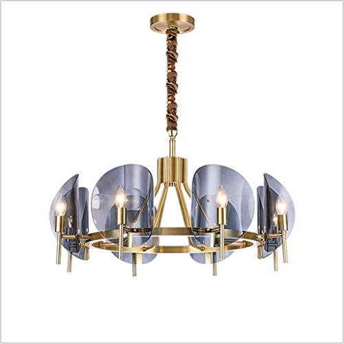 Living Equipment Lámpara colgante nórdica moderna con poste LED E27 Accesorio de luz ajustable en altura Personalidad creativa Lámpara de techo de cristal azul chapado en hierro Iluminación de pant