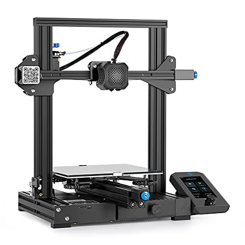 Imprimante 3D Creality Ender 3 V2 avec Carte mère 32 Bits silencieuse, Alimentation Meanwell, Plate-Forme en Verre Carborundum 220x220x250mm, Fonctionne avec Filament PLA, ABS, PETG