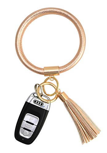 Coolcos Key Ring Bracelets Wristlet Keychain Bangle Keyring - Large Circle Leather Tassel Bracelet Holder Women Gift( reinforced champagne rose gold)