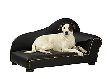 Silvio Design Canapé pour chien, lit pour chien, coussin pour chien, heimtierottomane, aspect cuir dans différentes tailles disponibles 1 noir