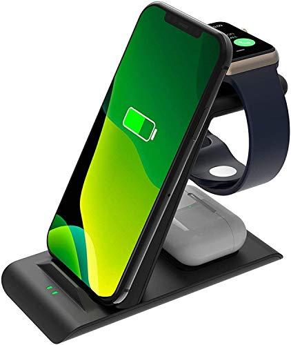 SPGUARD Ladestation Kompatibel mit Apple Ladestation Apple Watch Ladestation Series SE 6 5 4 3 2,Drahtloses Ladegerät für iPhone 12 iPhone 11 X XS XS Max XR 8 7 AirPods Pro AirPods 2
