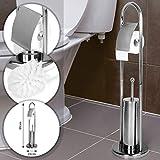 Aquamarin® Stand WC-Garnitur - 81/22/22 cm aus Edelstahl, in Silber - WC Bürste,Toilettenbürstenhalter, Toilettenpapierhalter, Klorollenhalter, Klobürsten-Halter