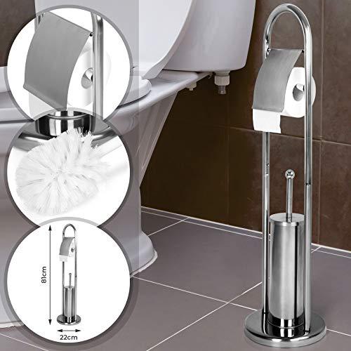 Aquamarin® Stand WC-Garnitur - 81/22/22 cm aus Edelstahl, in Silber - WC Bürste, Toilettenbürstenhalter, Toilettenpapierhalter, Klorollenhalter, Klobürsten-Halter