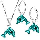 Kristall Delfin Set Anhänger + Kette + Creolen 925 Echt Silber Kinder Mädchen Delphin Ohrringe (1) Türkis)