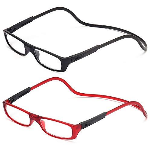 2 Stueck Lesebrille Lesehilfe für Herren und Damen +2.5 (60-64 Jahre) Faltbare Einstellbare mit Magnetverschluss und Clip für Alterssichtigkeit und Presbyopie (Schwarz + Rot)