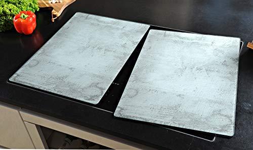 2 cubiertas de cristal para cubrir la vitrocerámica, diseño de hormigón, color gris, extra para grandes placas de 80 cm