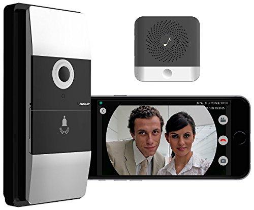 Somikon Klingel mit Kamera WLAN: WLAN-Video-Türklingel mit App, Klingelempfänger, 180° Bildwinkel, Akku (Türklingel mit Kamera WLAN)