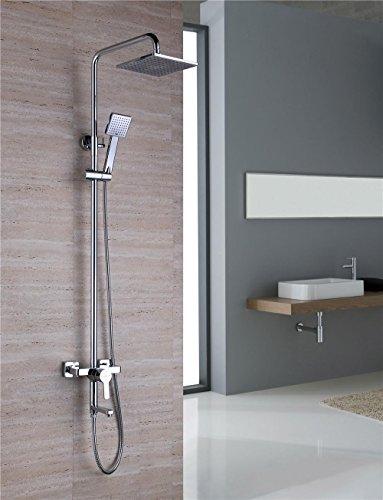 NIHE Douche murale avec douche set cuivré thermostat de salle de bains multi-fonction suralimenté salle de bain douche set , A - Garantie de 5 ans