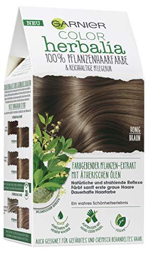 Garnier Color Herbalia Honigbraun, 100% pflanzliche Haarfarbe mit Henna, Indigo und Cassia, natürliches Colorieren, vegan 3er Pack(3 x 164 g)
