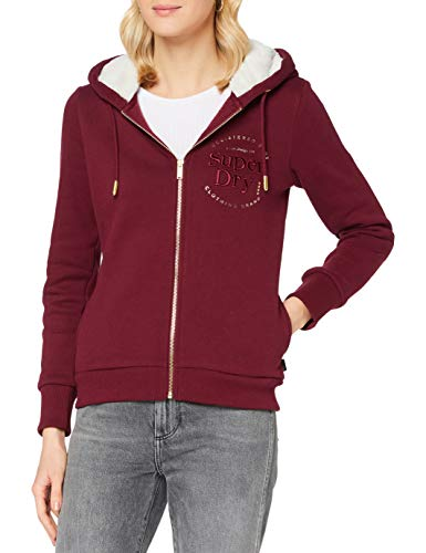 Superdry Womens Established Zip Hood Cardigan Sweater, Deep Port, M (Herstellergröße:12)