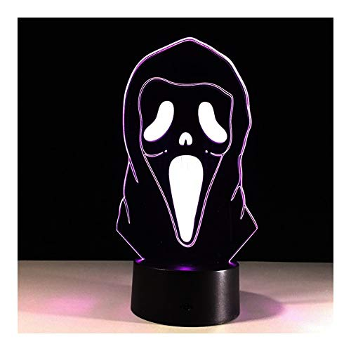 LED Halloween Masker 3D Lights 7 Kleur Touch LED Tafellampen Creatieve Producten Nachtlampje Perfect Gift (Kleur : Alloween Mask Multi-Colored)