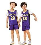 James # 23 Lakers Top Short Set para niños Ropa Deportiva para bebés, Shorts de Baloncesto Jerseys de Secado rápido de Verano Uniforme de Baloncesto Top Short-Purple-XXS