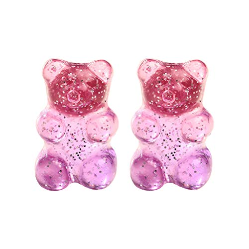 Creative Retro Colorful Jelly Bear Candy Color Lady Earring Jewelry Gift