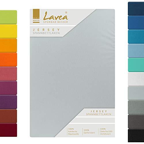 Lavea Jersey Spannbettlaken, Spannbetttuch, Serie Maya, 120x200cm, Silber, 100% Baumwolle, hochwertige Verarbeitung, mit Gummizug