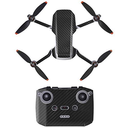 Face Lift für Drohne DJI MAVIC MINI 2, Black Grain Design, Komplett-Sticker Set für Drohne und Controller, Spezial 3M Kleber, Tarnung Skin Sticker Kit, Skin Wrap for Mini 2, Verzierung, Gesicht Drohne