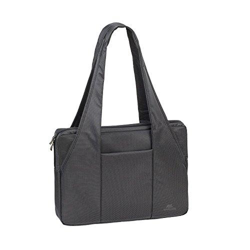 """RIVACASE Tasche für Laptop bis 15.6"""" – Schicke Laptoptasche mit viel Platz für Zubehör & Schutz durch gepolsterte Wände – Schwarz"""