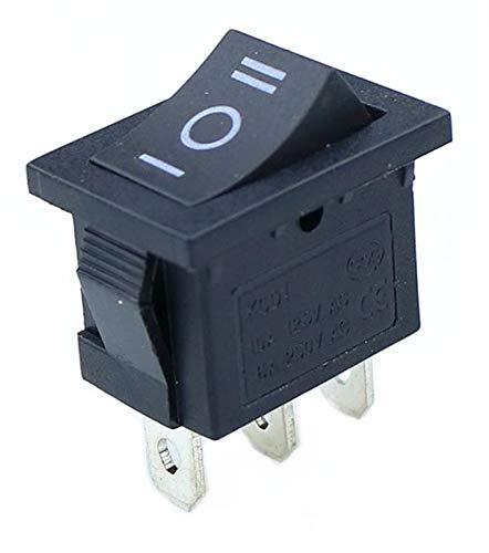 KQATCJ Interruptor basculante 10 pcs pequeña Negro 3 Pines / 6 Pines de Encendido/Apagado/Encendido Rocker AC 6A / 250V10A / 125V para Coche, Barco, camión (Color : 3 Pin On Off On)