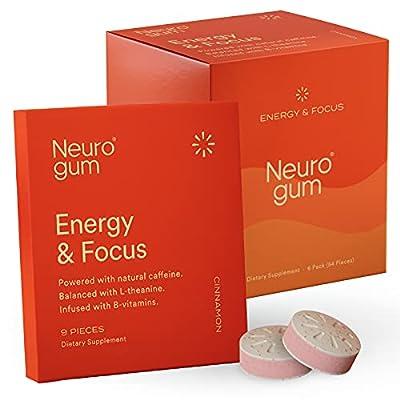 Neuro Gum Nootropic Energy Gum | Caffeine + L-theanine + B Vitamins | Sugar Free + Gluten Free + Non GMO + Vegan