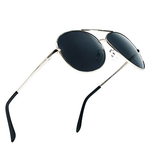 BLDEN Gafas de Sol Aviador Hombre Mujer Clásico Estilo Marco Metal Lentes Polarizadas(BLACK)