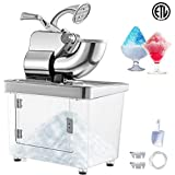 VEVOR 110V Commercial Electric Ice Shaver 440lbs/h Heavy Duty Snow Cone Maker with Dual Blades, Stainless Steel Slush Margarita Machine for School, Church, Restaurants, Bars, Sliver
