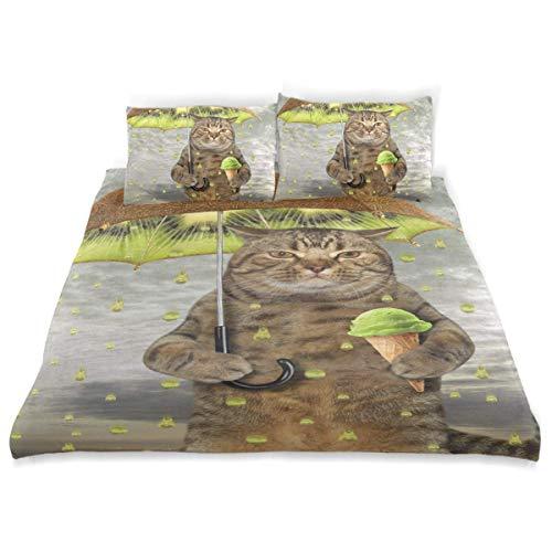 Duvet Cover Set Cat Holding Kiwi Umbrella One Paw Decorative 3 Piece Bedding Set with 2 Pillow Shams