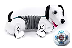 Introducing Robo Dash/Dackel, a lovable robotic puppy who will follow you wherever you go With multi directional movement and gesture control, Robo Dash will follow your gesture commands to perform tricks and actions, including chasing his tail Follo...