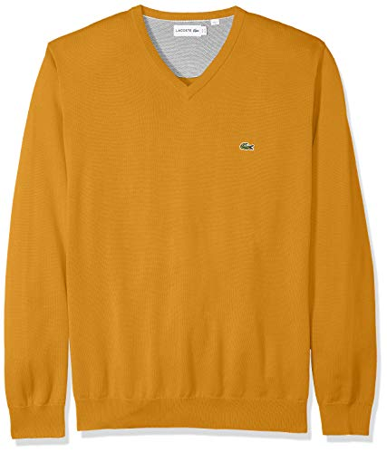 Lacoste Mens Long Sleeve Half Moon V Neck Jersey Sweater Sweater, Darjali/Flour/Stone Heathered, 3XL