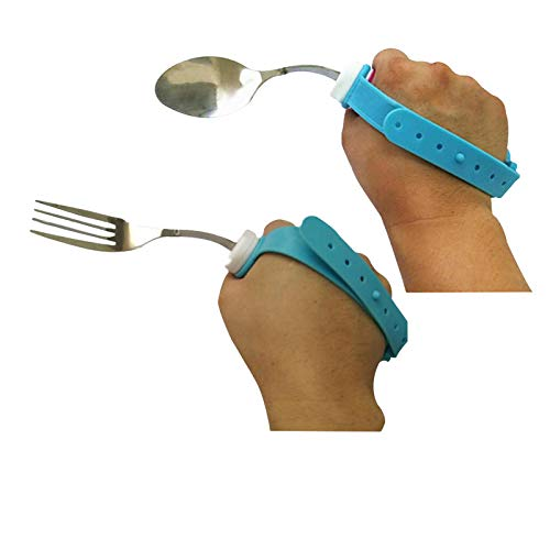 Flexible Stainless Steel Spoon and Fork Set with Adjustable Strap 360 Degree Rotated Eating AIDS Utensils for Disabled Patient Elder Arthritis People Handicapped (fork+spoon)