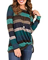 Promaska Knotted Shirts for Women, Ladies Long Sleeve Fashion Striped Tunic Tops for Leggings Knotted Front Color Block Knit Blouses(2XL, Green)