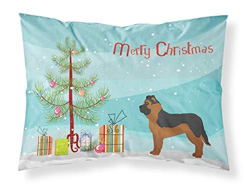 Caroline Treasures - Fundas de Almohada estándar de Tela para árbol de Navidad, diseño de Pastor alemán, Color Negro