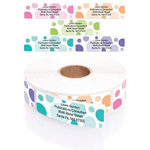 Bright Graphic Dots Designer Assorted Name & Address Labels with Elegant Plastic Dispenser