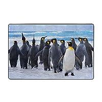ペンギン 群れ 雪原 スノー カーペット ラグ ラグマット 滑り止め 防ダニ 抗菌防臭 ふわふわ 年中使え 手触りよく フランネル 防音 玄関 廊下 引越しプレゼント 折畳み 洗濯機対応可 長方形 絨毯 100*150cm