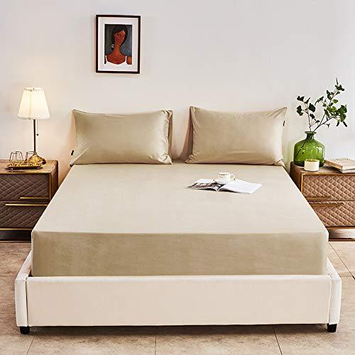 HAIBA Sábana bajera ajustable, 100% algodón, calidad de hotel, extra profunda, 150 x 200 cm