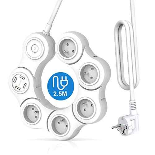 iEcopower - Regleta eléctrica con 5 tomas y 4 puertos USB, enchufe...
