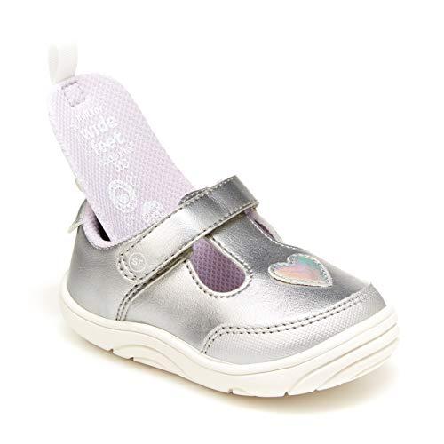 Stride Rite Baby Girls Mariella First Walker Shoe, Silver, 3 Infant